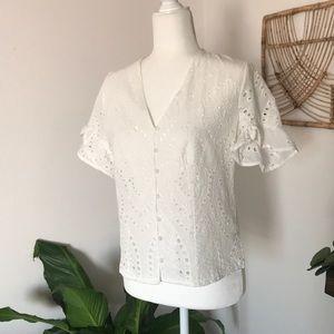NWT Adiva short sleeve eyelet button up blouse